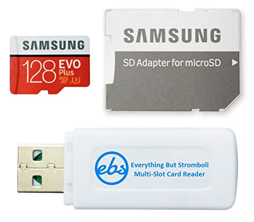 Samsung 128GB Micro SDXC EVO Plus Memory Card with Adapter Works with Samsung Galaxy Tab S6, Tab A 8.0 (2019) Book2 Tablet, Phone (MB-MC128H) Bundle with 1 Everything But Stromboli SD, TF Card Reader