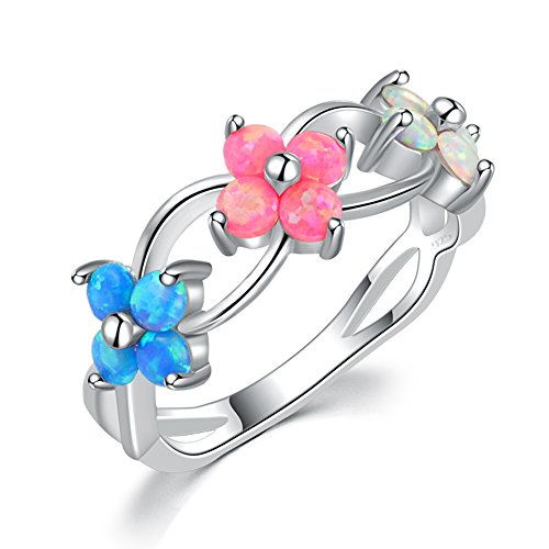CiNily Flower Opal Ring-Blue Pink White Fire Opal Silver Women Jewelry Gemstone Ring Size 5-11