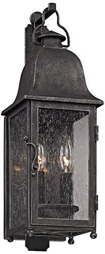 Troy Lighting Larchmont 2-Light Outdoor Wall Lantern - Aged Pewter Finish with Clear Seeded (Aged Pewter Two Light)