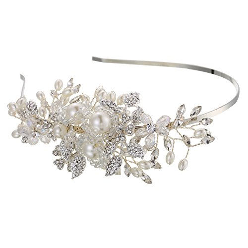 Diamondo Wedding Bridal Hair Accessory Pearls Beads Rhinestone Flower Vine Headpiece