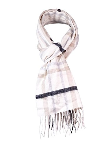 Charter Club Cashmere Muffler Scarf Ivory/Taupe Plaid Women's One Size