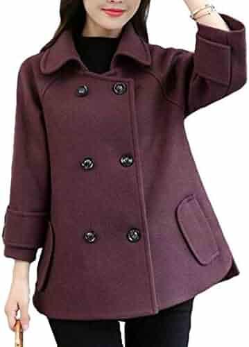 9a6373d4eb5 GRMO Women Wool Cloak Winter Double Breasted Lapel Overcoat Short Pea Coat