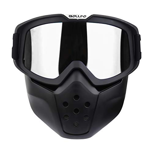 Motorcycle Goggles Detachable Mask Vintage Open Face Helmet Sunglasses UV400 Protection Windproof Dustproof Motocross Motorbike Cycling Skiing Dirt Bike ATV Off Road Racing Shield Goggles