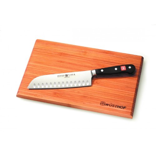 (Wusthof 1550 CLASSIC Santoku w/Board, One Size, Black, Stainless Steel)