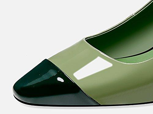 Zcjb Sandalias De La Cabeza Del Verano Hembra Cuadrada Talón Grueso De Charol Retro Baotou Zapatos De Tacón Alto (color: Blanco, Tamaño: Eu39 / Uk5.5 / L: 24cm) Verde