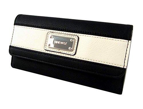 Nine West Segment Checkbook Wallet, Black/White (White Wallet Checkbook)