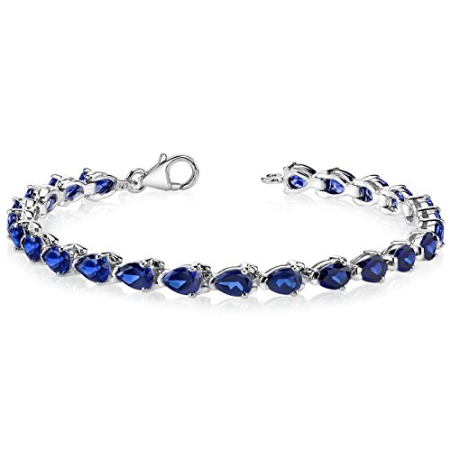Pear Shape Created Blue Sapphire Gemstone Bracelet in Sterling Silver Rhodium Nickel Finish