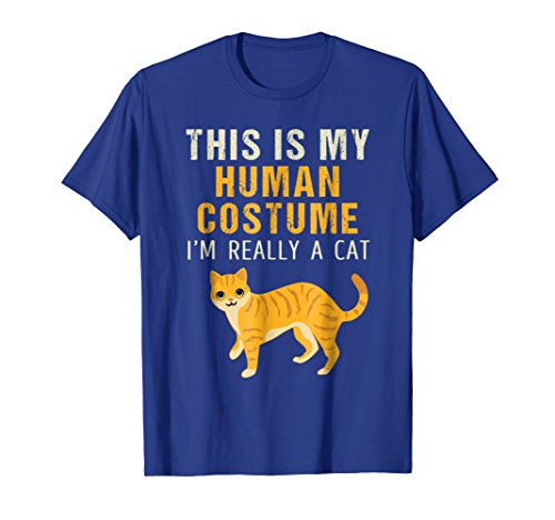 Mens I'm Really a Cat Halloween Shirt Easy Costume Idea 2XL Royal Blue
