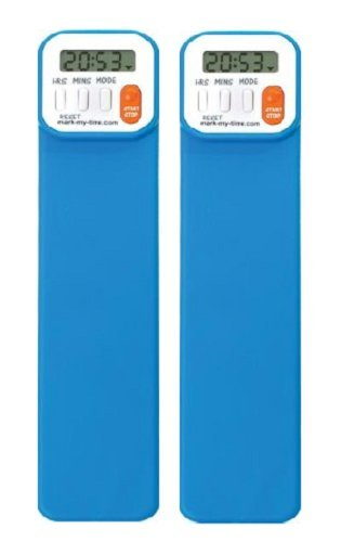 Mark-My-Time Digital Bookmark- Neon Blue 2 pack , VALUE (Time Digital Bookmark)