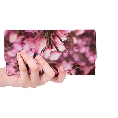 (Unique Custom Heather Erika Flower Bloom Plant Garden Pink Women Trifold Wallet Long Purse Credit Card Holder Case Handbag)