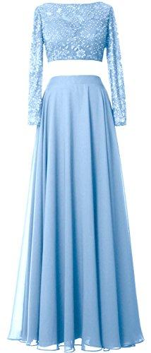 MACloth Women 2 Piece Long Sleeve Prom Dress Lace Chiffon Formal Evening Gown Cielo azul