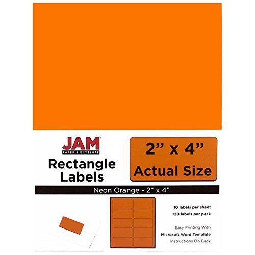 "JAM Paper Mailing Address Labels - Medium - 2"" x 4"" - Neon Fluorescent Orange - 10 Labels per Page/120/pack"