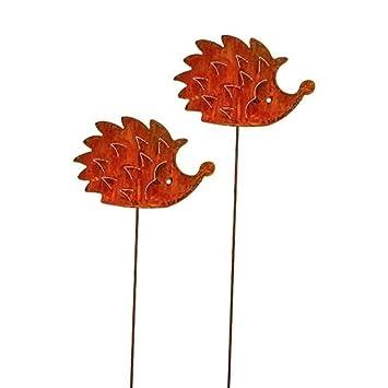 Eulen Eule Blumenstecker; Metall Rost; 60 cm; 2 St/ück; Herbststecker; Gartenstecker; Beetstecker