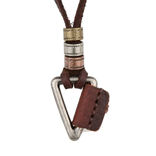 - Vintage Silver Tone Alloy Triangle Geometrical Pendant Necklace With Genuine Brown Leather Chain