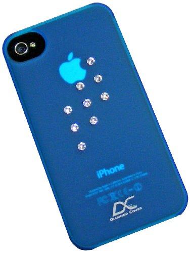 Diamond Cover 205093ed Retro Handy Case mit Kristallen von Swarovski für Apple iPhone 4/4S blau