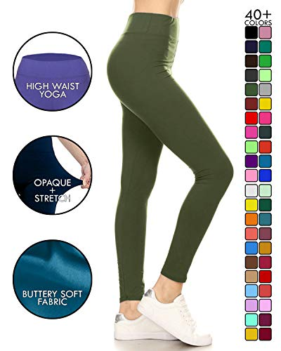 LYX128-OLIVE Yoga Solid Leggings, Plus Size ()