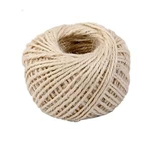 doitsa 50m Cáñamo Cuerda (fibras naturales cuerda Jardín Cordeles para Shabby Chic Tarjetas de boda, regalo del paquete adornos, DIY aptitud, Jardín, tratado (yute color)