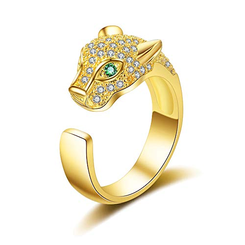 Belleman Fashion Jewelry Leopard Head Crystal Ring Engagement Ring (Gold)