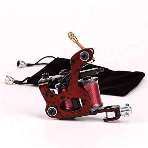 Steel Coil Tattoo Machine 10 Wrap Tattoo Coils Machine Gun for Shader for Liner Red with Contain Bag