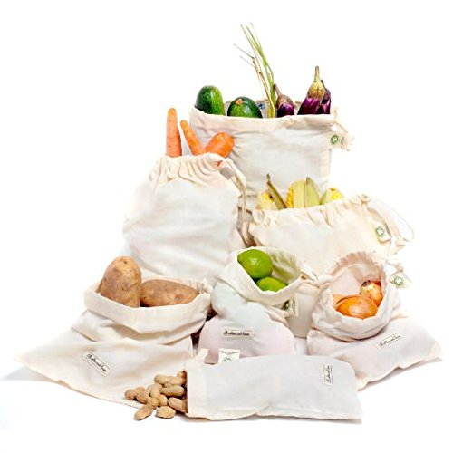 PREMIUM REUSABLE PRODUCE BAGS - Set of 4 ORGANIC COTTON MUSLIN BAGS (2 ea. L, 1 ea. of M & S) - Double-Stitched Strength, Tare Weight on Tags with drawstring, Preserve Your Produce