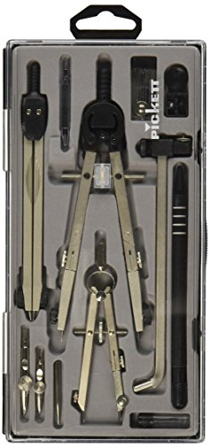 CHARTPAK Drafting Set 5 Piece Chrome Plated Fine Tool Steel Silver (1503NC)