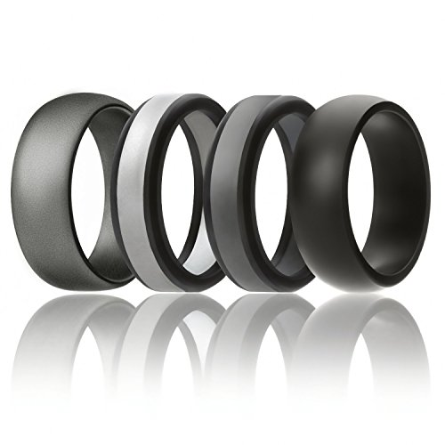 Male Rubber - SOLEED Silicone Wedding Ring For Men, Rings (Power X Series), 4 Pack Silicone Rubber Wedding Band, Black, Grey, Silver - size 12