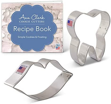 Sweet Smile/Dentist Cookie Cutter Set with Recipe Booklet - 2 piece - Mouth and Tooth - Ann Clark - USA Made Steel