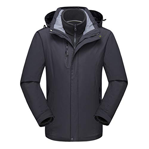Alomoc Men's 3 in 1 Winter Hiking Jacket Waterproof Softshell Snowboard Coats with Hood Dark Grey