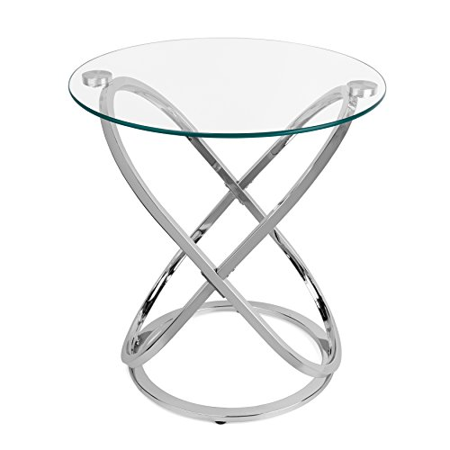 Danya B. HA01516 Modern Home Decor – Galaxy Small Round Clear Tempered Glass and Metal Chrome Side Table – Bedside Table End Table – Accent Table