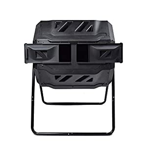 Garden Compost Bin from BPA Free Material, Dual Rotating Outdoor Composting Tumblers (43 Gallon,Black)