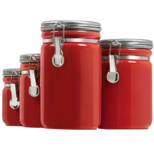 Anchor Hocking 03923RED Ceramic Canister 4pc Set