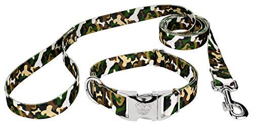 - Country Brook Petz | Woodland Bone Camo Premium Dog Collar & Leash - Medium