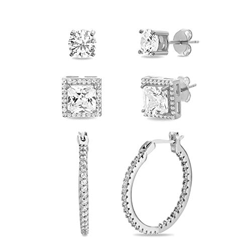 (MIA SARINE Round Cubic Zirconia Four Prong Stud, Halo Stud and Huggie Hoop Earring Set for Women in Rhodium Plated 925 Sterling Silver (Square White))