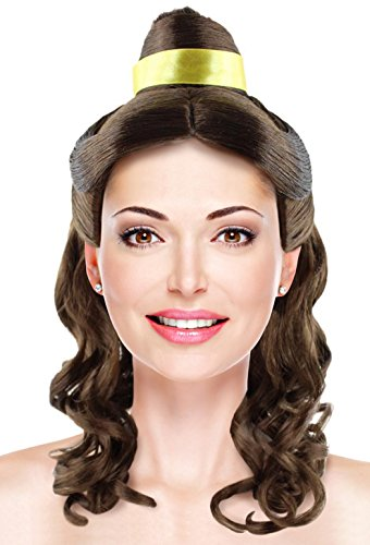 Princess Belle Wig Long Curly Wave Hair with Ribbon for Cosplay Costume Party Dress Up Halloween (Light Brown (Belle Halloween Costume Hair)