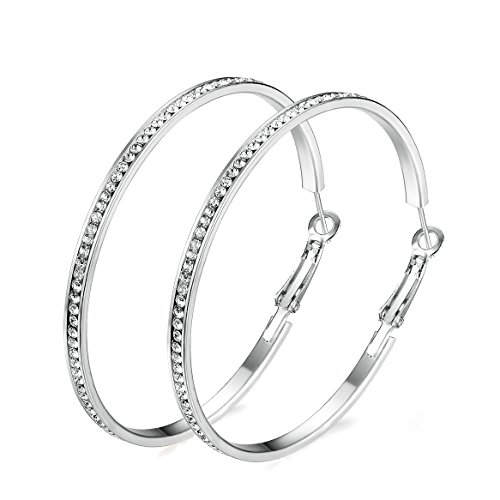 Junxin Eternity Rhinestone stainless steel Hoop Earrings Gold Plated silver Plated,Gift For Women And Girls (Silver)