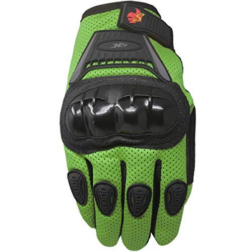 Street Bike Full Finger Motorcycle Gloves 09 (Youth_L, Green) ()