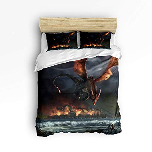 YEHO Art Gallery King Size Cute 3 Piece Duvet Cover Sets for Boys Girls,Brave 3D Dragon Printing,Decorative Bedding Set Include 1 Comforter Cover with 2 Pillow Cases