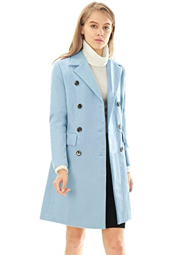 Allegra K Women's Notched Lapel Double Breasted Trench Coat M Blue