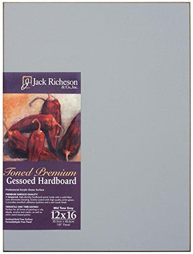 Jack Richeson 1611216 Richeson Mid-Tone Grey Toned Gessoed 1/8'' Hardboard 12''x16'' by Jack Richeson