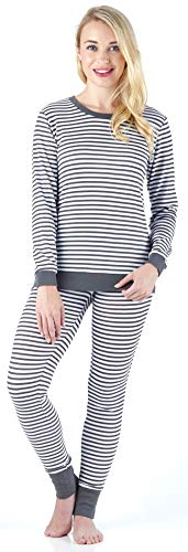 (Sleepyheads Women's Sleepwear Long Sleeve Soft & Cozy Striped Knit 2-Piece Pajama Set, Dark Grey & White Stripe (SH1138-5020-XL))