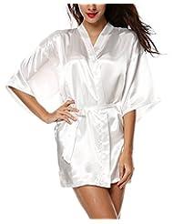 Avidlove Women's Kimono Robe Satin Lounge Bridesmaid Short Style