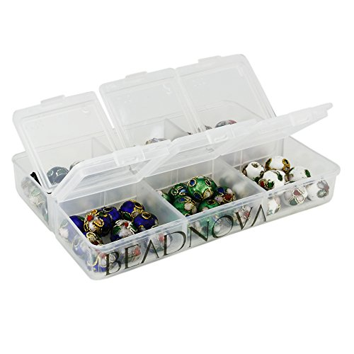 BEADNOVA 8mm Handmade Round Enamel Cloisonne Beads for DIY Jewelry Making Craft Loose Beads 60 Pcs Assortment Color Box Set (Blue Cloisonne Tube Beads)