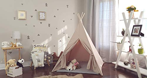 (Kids Teepee Plain Taupe Stone color Tipi with Poles Large Playhouse Play Photo prop Indoor Tent Small Canvas Teepee)