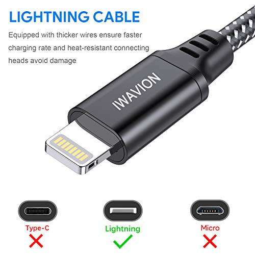 IWAVION iPhone Charger Cable, 4pack 3ft/1m Lightning Cable Nylon Braided MFi Certified iPhone Cable USB Sync Cord Fast iPhone Charging Cable for iPhone Xs Max X XR 8 7 6s 6 Plus SE 5, iPad Mini/Air