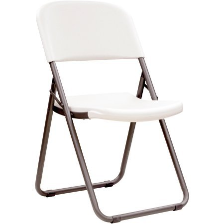 Comfortable Loop Leg Folding Chair, Set of 4 Chairs for Outdoor and Indoor Use, Home and Office Furniture, Made of Plastic and Metal, White Granite FInish, BONUS E-book by Best Care LLC