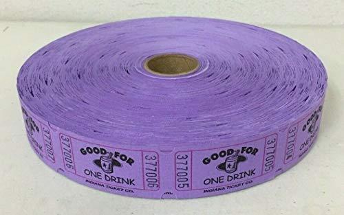 Purple Good for One Drink Single Stub Raffle Tickets Roll of 2000 (Purple Roll Of Tickets)