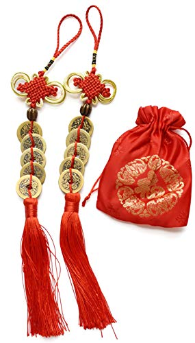 Chinese Feng Shui Money Handmade Coins with Red Enless Knot Hanging Decoration Lucky Ornaments for Car Wealth and Success 2 Sets of 5 Coins by Novelty House