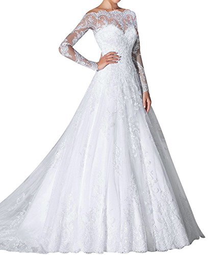 (Zhongde Boat Neck Off The Shoulder Bridal Gown Long Sleeves Lace Wedding Dress White Size 22)