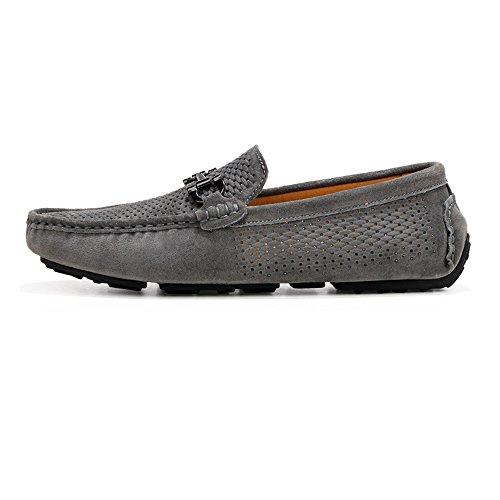 Homme Véritable Cuir Conduite Hollow Chaussures Vamp Suede Hommes Mocassins Mocassins Semelle de en Creux d'été Penny pour 2018 Gray Caoutchouc w5XPgCqCx