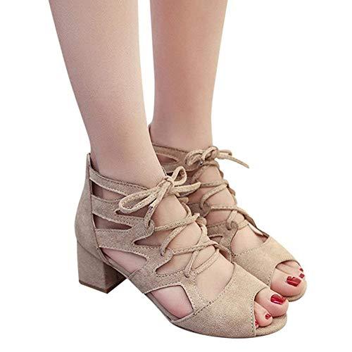 Talon en Femmes à Minetom Bloquer Beige Cheville Partie D'été Chaussures Élégant Mode Carrés Talons Bloc Hauts Orteil Sandales Ouverte Daim 0wdzdq1S